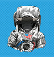 bull in astronaut suit 2021 year hand drawn art vector image
