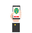 business hand holding smart phone calling police vector image vector image