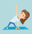 caucasian woman practicing yoga triangle pose vector image vector image