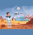 cheerful cartoon spaceman vector image vector image
