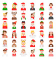 christmas avatar and winter fashion icon set vector image vector image