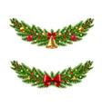 christmas garland set white background vector image vector image