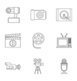 Communication device icons set outline style vector image vector image