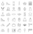 cosmetic icons set outline style vector image vector image