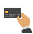 credit card mockup in hand vector image vector image