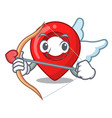 cupid gps navigation pin on character cartoon vector image