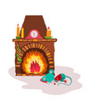 cute mouse sleeping in front fireplace and vector image