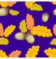 dark blue pattern with leaves and acorns-01 vector image vector image
