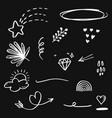 doodle set elements white on black background vector image vector image