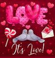 dove birds hearts love balloons valentines day vector image