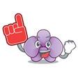 foam finger orchid flower mascot cartoon vector image