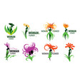 girl logo in the shape of a flower vector image vector image