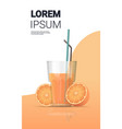 glass fresh orange juice with straw and sliced vector image