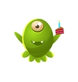 Green One-eyed Toy Monster With Slice Of Cake vector image vector image