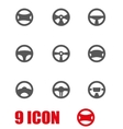 grey steering wheels icon set vector image