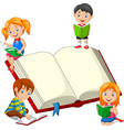 group children reading a books vector image vector image
