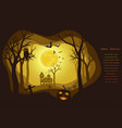 halloween poster on dark paper art background vector image