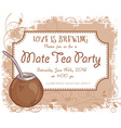 hand drawn mate tea party invitation card vintage vector image vector image