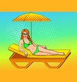 happy beautiful young woman on the beach pop art vector image vector image
