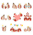 happy ladybug family set cute mother father and vector image vector image