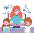 happy teachers day teacher and student girl boy vector image vector image
