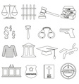 justice and law black outline icons set eps10 vector image