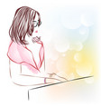 line art of beautiful female playing a piano vector image vector image