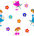little girl and flowers vector image vector image