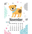 november page of calendar vector image
