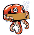 octopus hold the sign vector image vector image