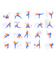 office yoga exercises fitness and yoga workout vector image vector image