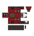 paper model of a classic fire truck vector image vector image
