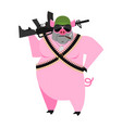 pig soldiers swine war wild boar with gun aper vector image vector image