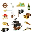 Pirate accessories flat icons set vector image vector image