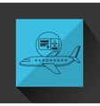 plane white sun symbol travel ticket design vector image