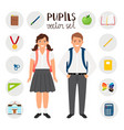 pupils boy and girl icons set tools stationary vector image