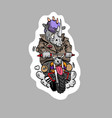 rhinoceros riding a motorcycle sticker cartoon st vector image