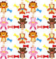 Seamless background with puppets and bows vector image