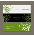 Set of horizontal banners with green tree vector image vector image