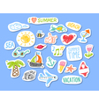 set stickers with sketch element summer theme vector image
