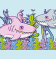sharks in sea cute cartoon vector image vector image