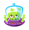 shivering green alien cute cartoon monster vector image vector image