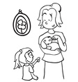 simple black and white mom feeding a dog vector image vector image