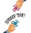 spinner time background with flat hands holding vector image