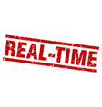 square grunge red real-time stamp vector image vector image