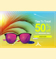 summer sale 50 off discount banner sunglasses vector image vector image