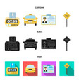 the counter of the fare in the taxi the taxi car vector image vector image