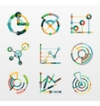 Thin line chart logo set Graph icons modern vector image