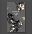 tropic banana leaf black gold banner vector image vector image