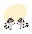 two cute little raccoon characters jumping from vector image vector image